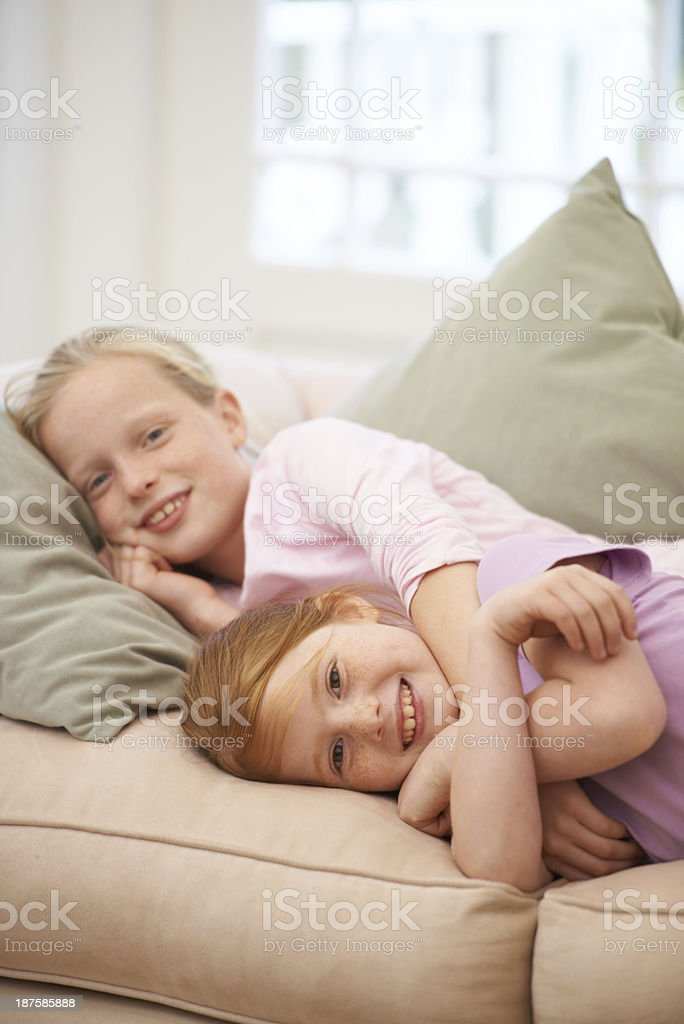 These sisters are the best of friends royalty-free stock photo
