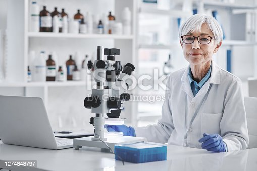 Portrait of a mature scientist working in a lab