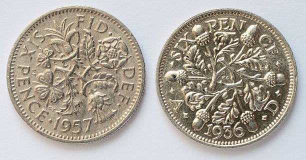 two sixpences queen elizabeth and king george v reverse - whiteway money stock photos and pictures
