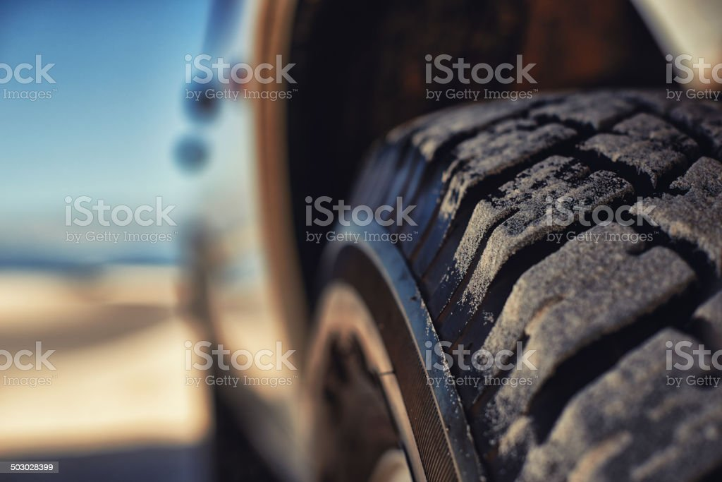 These tyres eat up any terrain stock photo