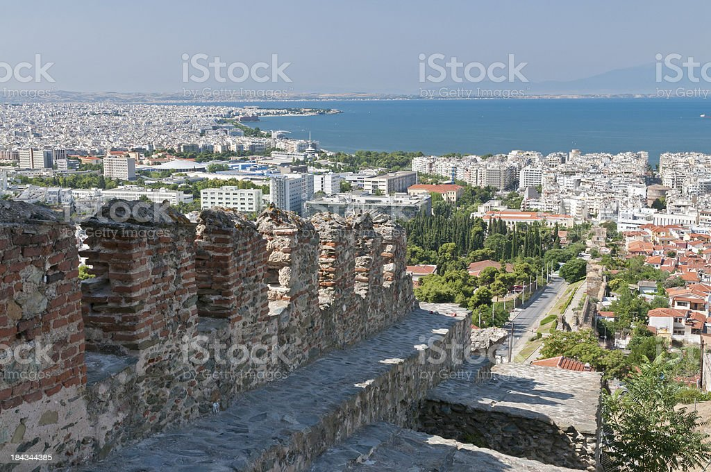 Thessalonika with old city wall stock photo
