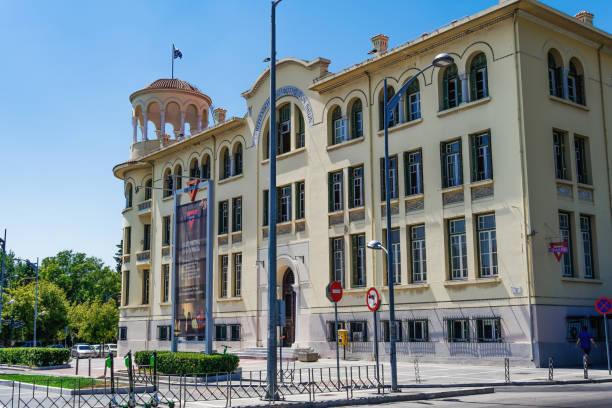 Thessaloniki, Greece August 11 2019: YMCA building facade day view.YMCA external view at homonymous central square named in Greek Plateia XANTH. stock photo