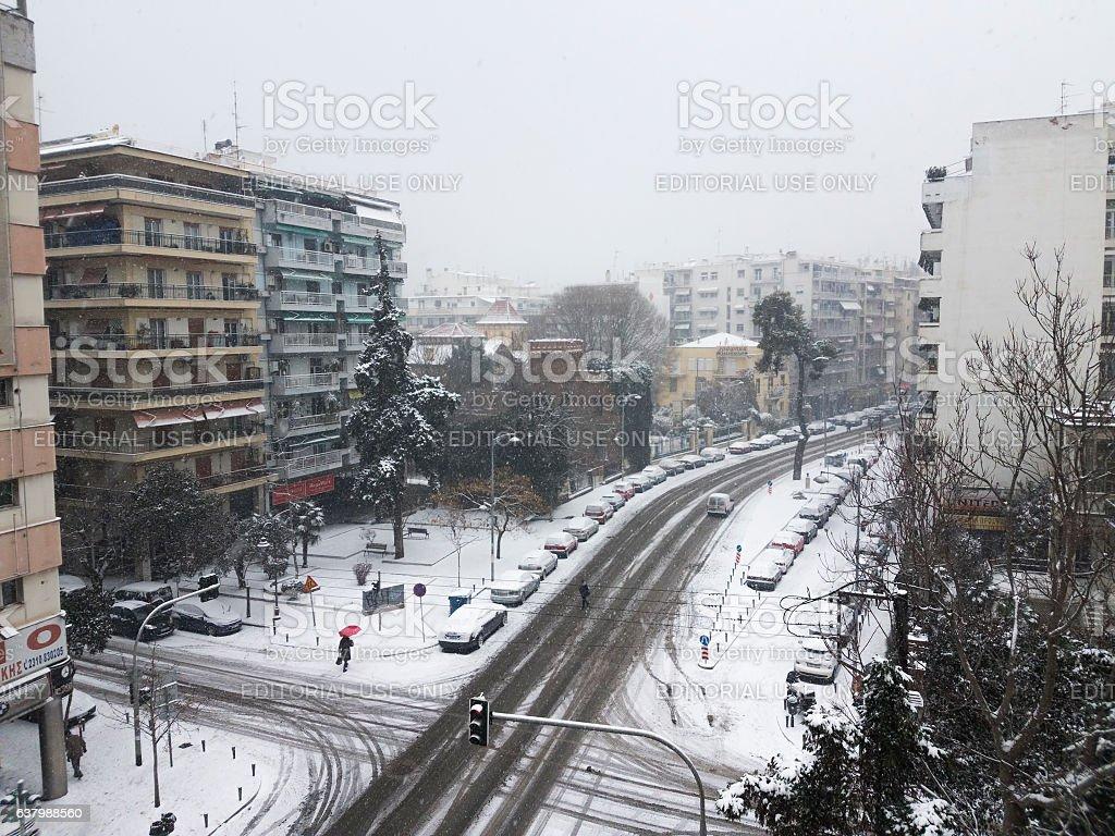 Thessaloniki, Greece - January 11 2017 second day of snowfall. stock photo