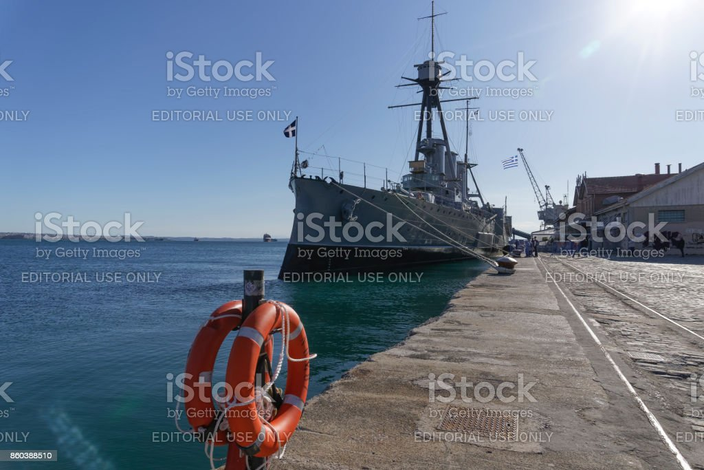 Thessaloniki, Greece - October 9 2017: Greek warship Averof moored at port. stock photo