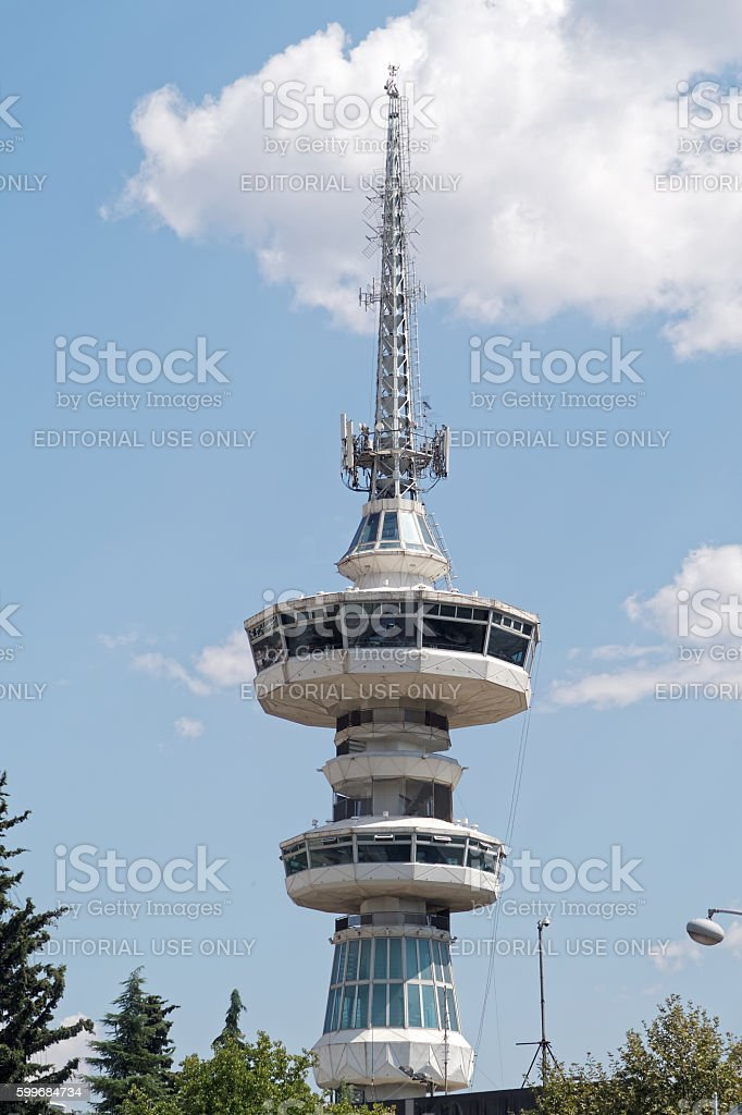 Thessaloniki, Greece - September 04 2016: OTE telecommunications tower. stock photo