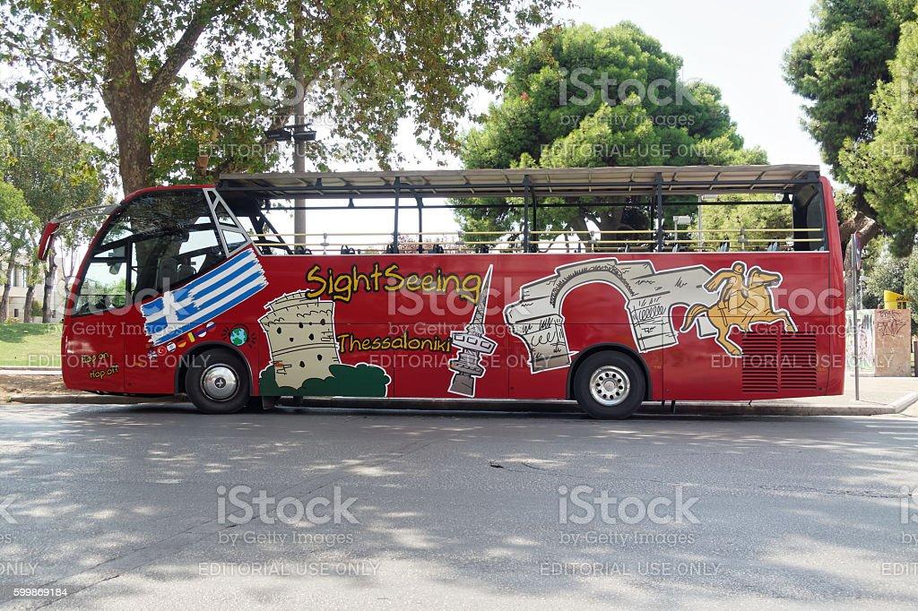 Thessaloniki, Greece - September 04 2016: Thessaloniki Sightseeing Hop-On bus. stock photo