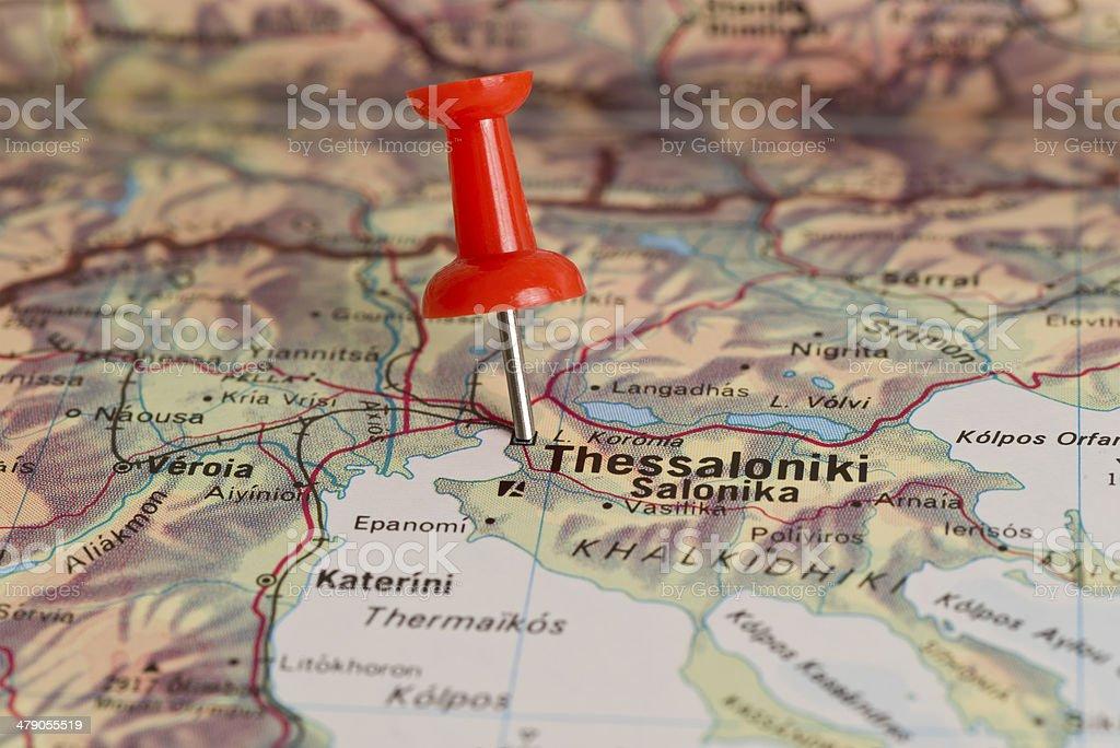 Thessaloniki Karte.Thessaloniki Rot Gekennzeichnet Pushpin Auf Der Karte Stockfoto Und