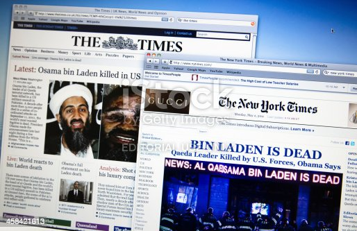 Florence, Italy - May 2, 2011: thetimes.co.uk and newyorktimes.com (two of the most important web newspaper) announce the death of Osama Bin Laden. He was the most wanted fugitive terrorist in the world after the attack of the World Trade Center in September 2001. The browser is Safari and pc is a Macbook Pro.