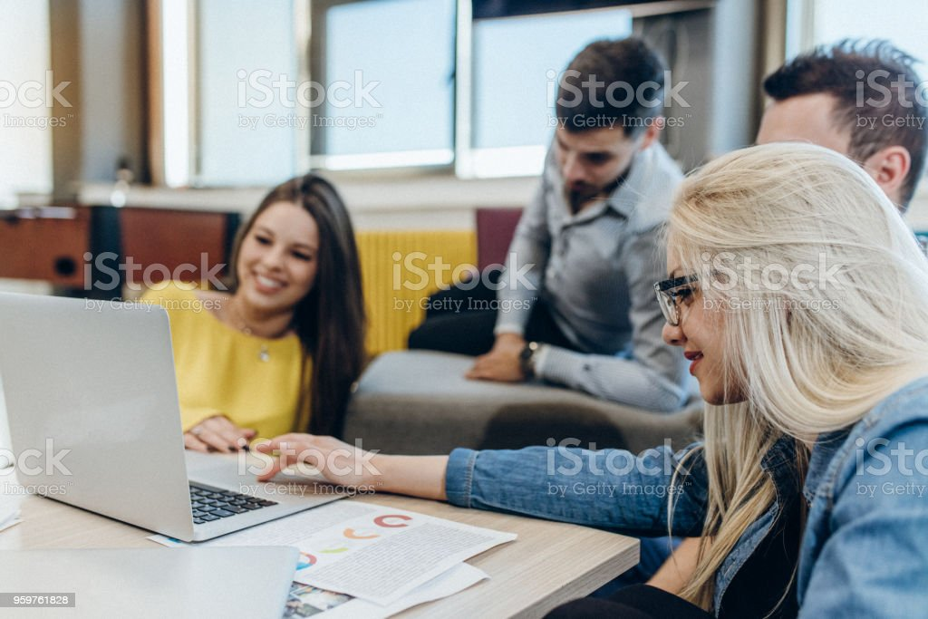 They all share the same interests online stock photo