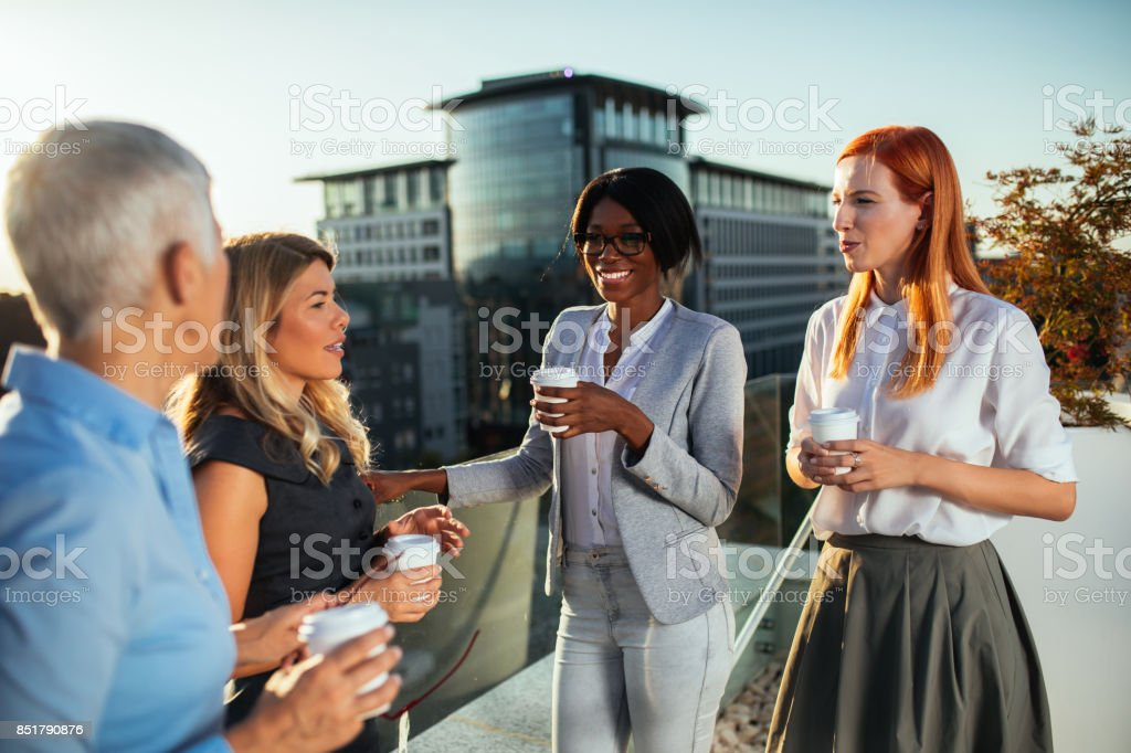 They always work hard, even on coffee breaks! stock photo