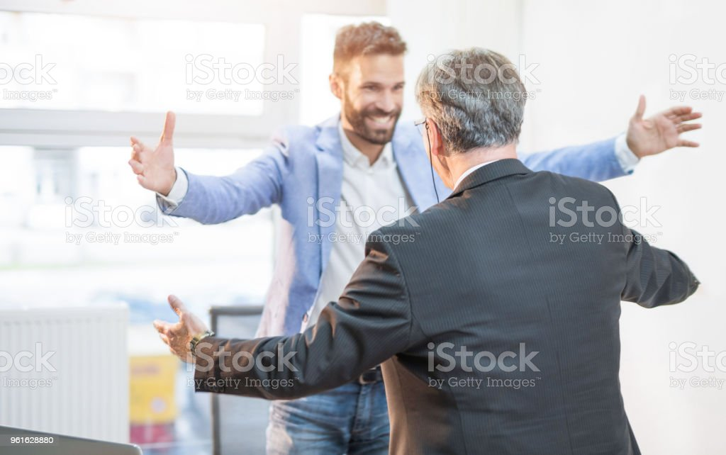 They are business partners but also best friends. stock photo