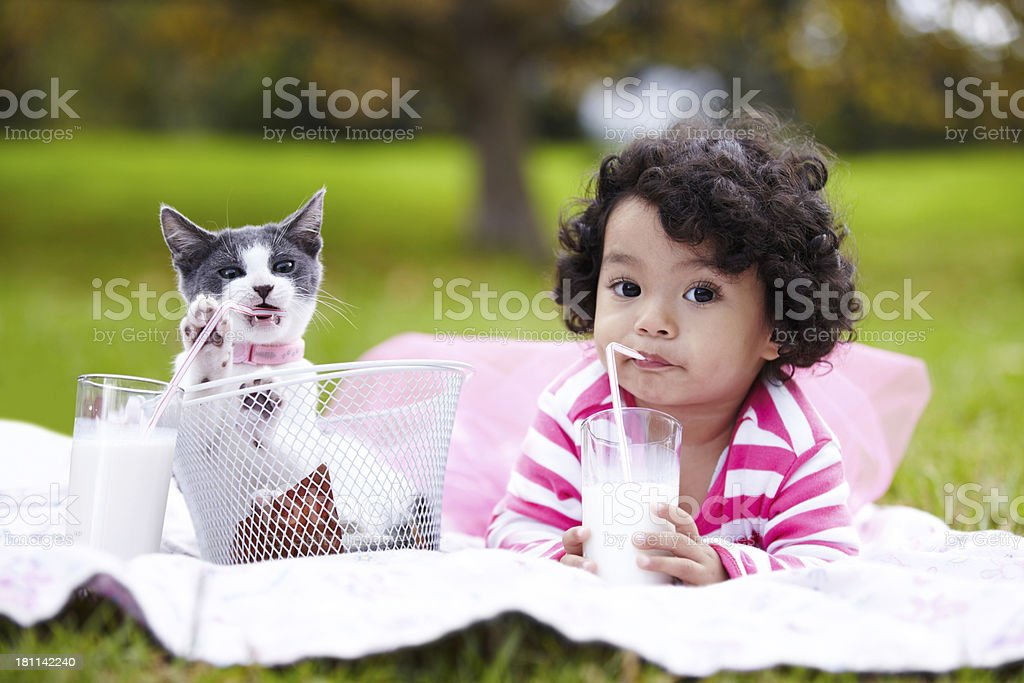 They do everything together stock photo