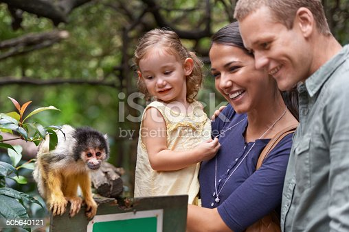 A happy family spending the day at a monkey sanctuary