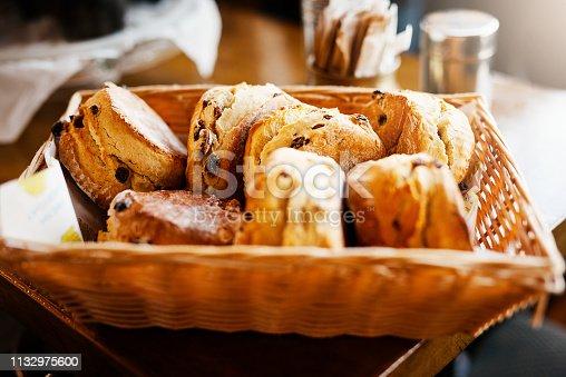 Cropped shot of freshly baked scones in a basket