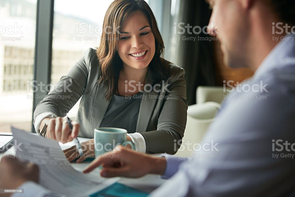 They have a great working relationship stock photo