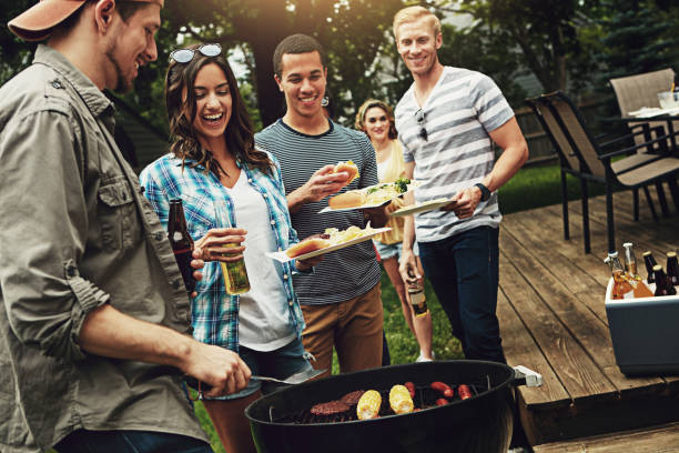 they host the best barbecues - grilled stock photos and pictures