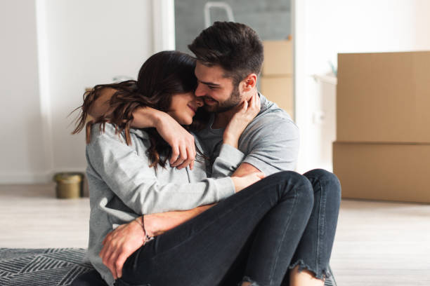 They just bought the new apartment stock photo