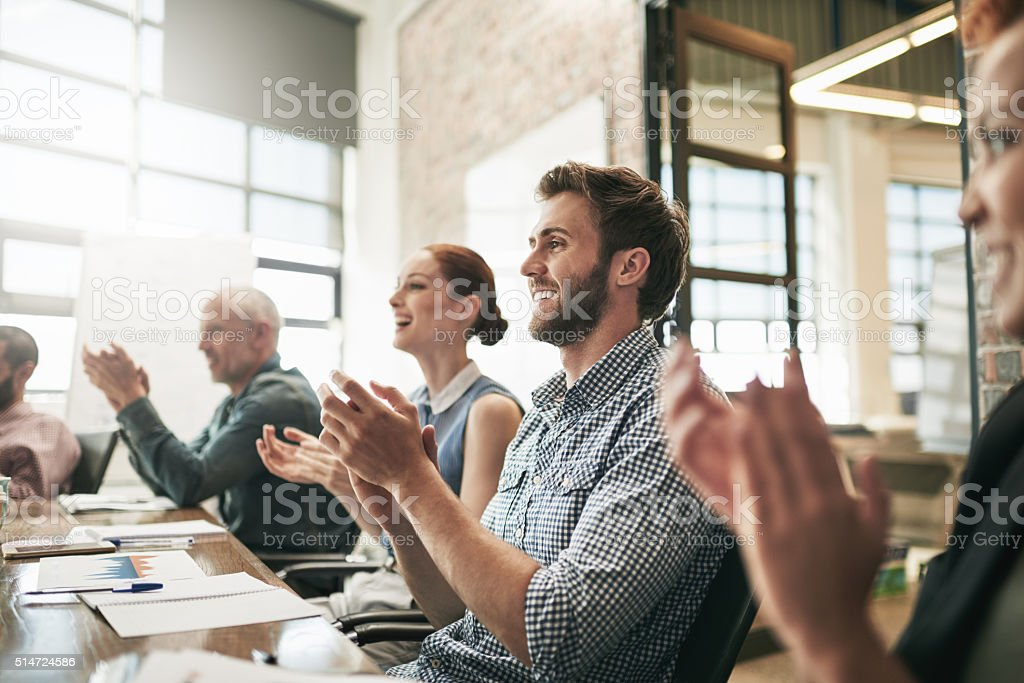 They learnt a lot from this meeting stock photo