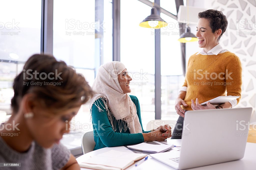 They like to keep their meetings light hearted stock photo