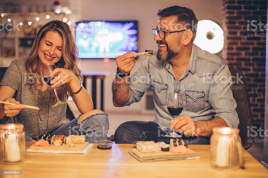 Sie lieben verbringen Zeit zusammen - Lizenzfrei Sushi Stock-Foto