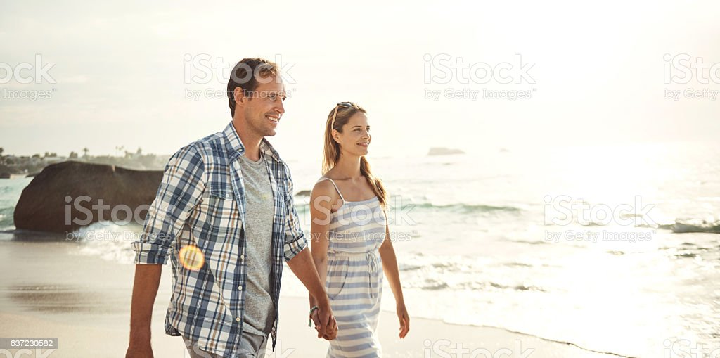 They love their sunset walks stock photo