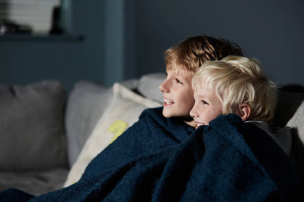 They love watching movies together Shot of two young brothers sitting together on a sofa watching a movie wrapped in a blanket stock pictures, royalty-free photos & images