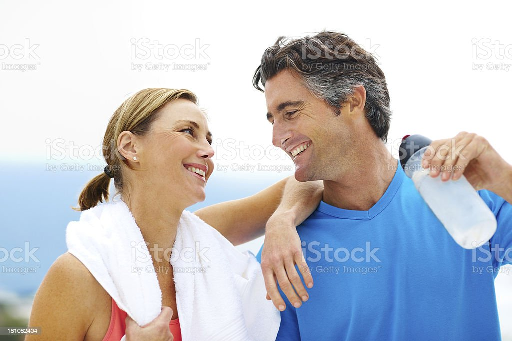 They love working out together royalty-free stock photo