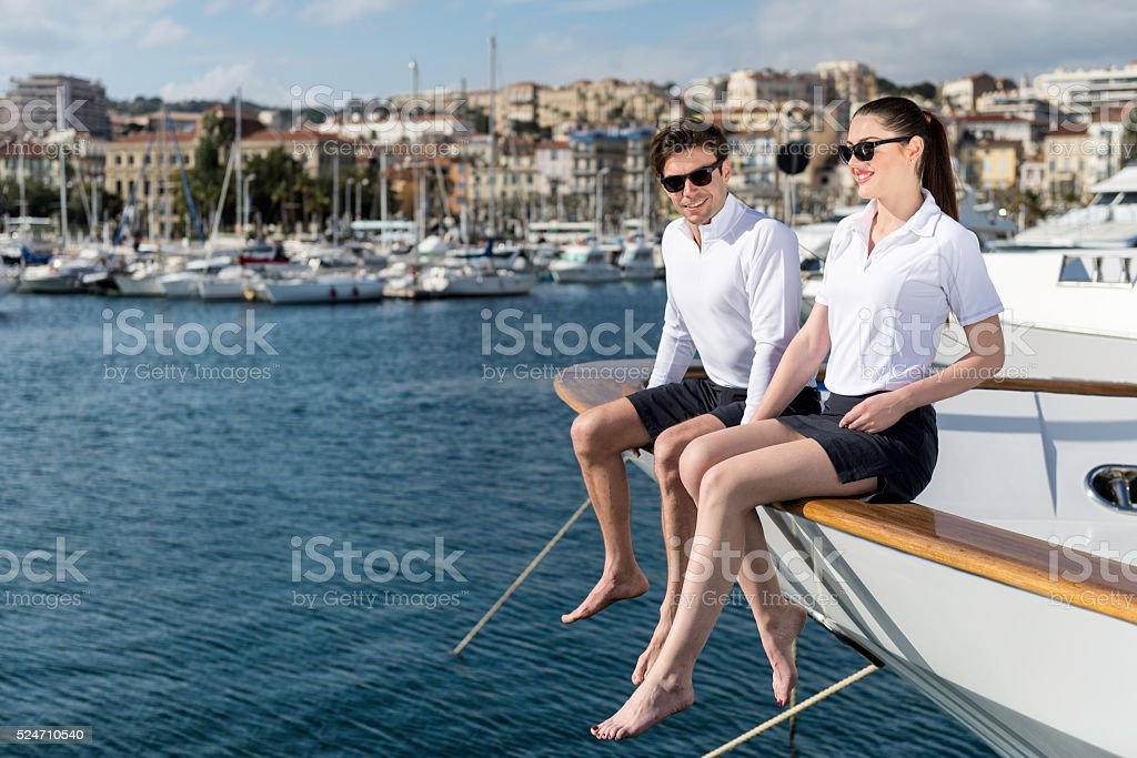 They love yachting! stock photo