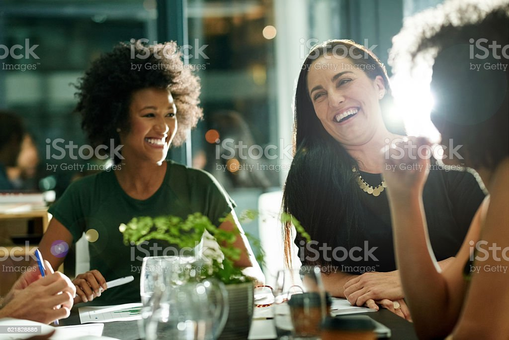 They make brainstorming look like fun stock photo