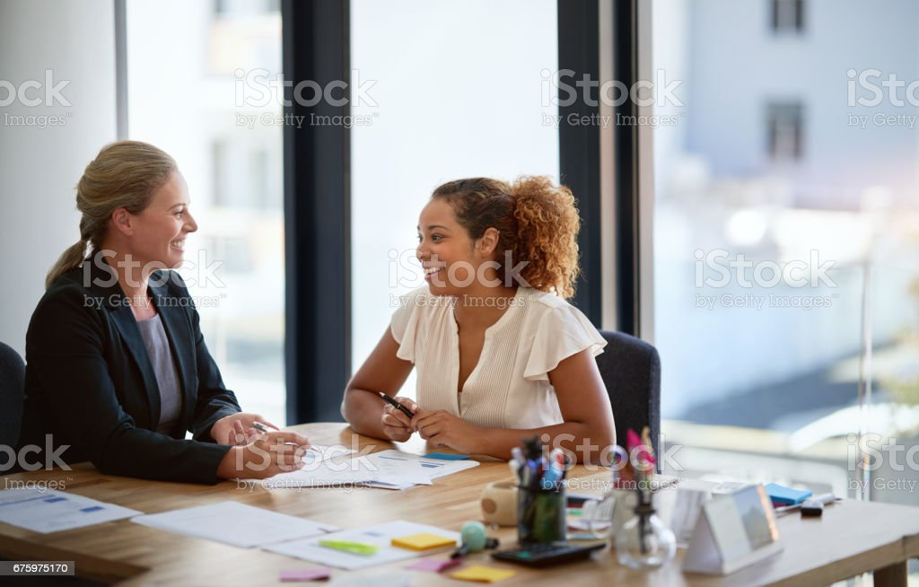 They share a great office relationship stock photo