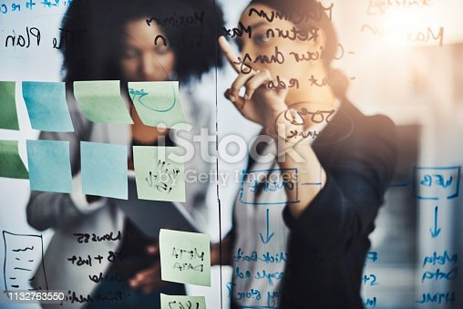 Shot of two businesswomen brainstorming with notes on a glass wall in an office