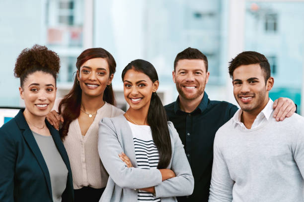 They're a team brimming with confidence stock photo