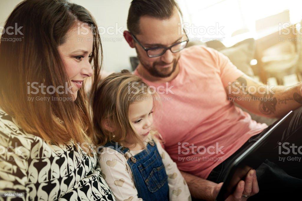 They're one smart tech savvy family zbiór zdjęć royalty-free