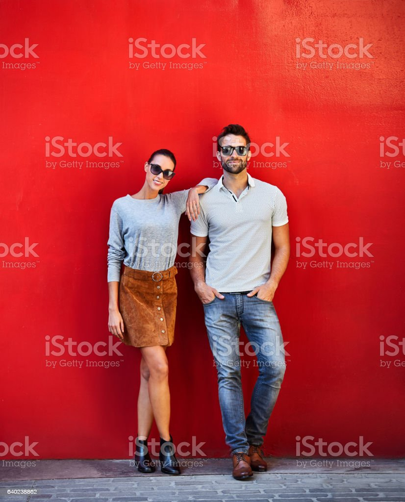 They're one trendy couple stock photo