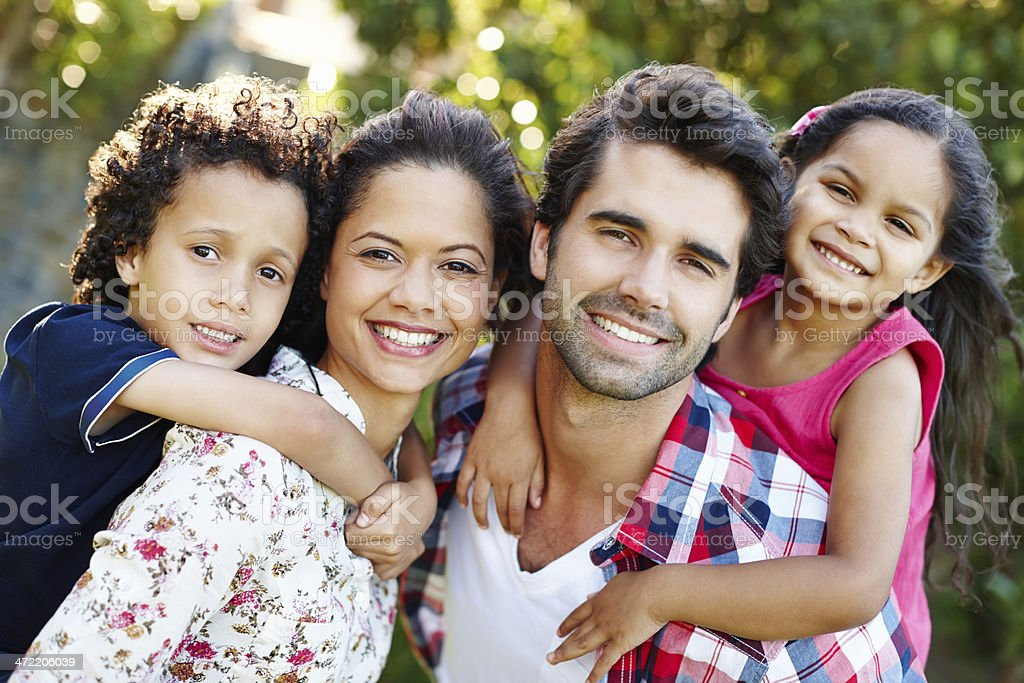 They're such a cute family! stock photo