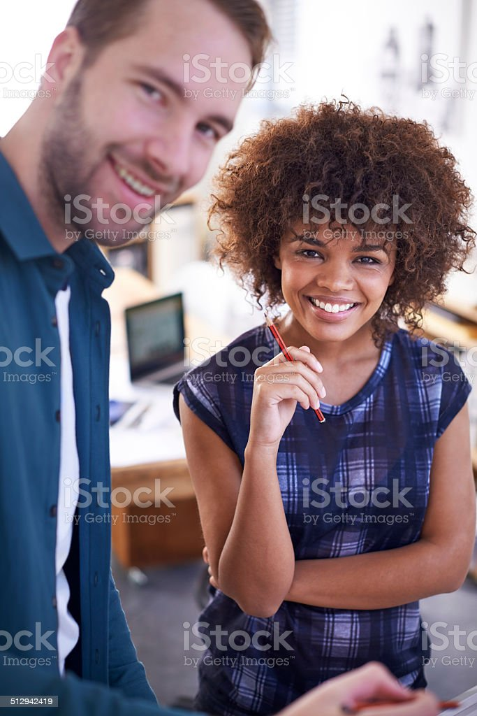 They're two brilliant young architects stock photo
