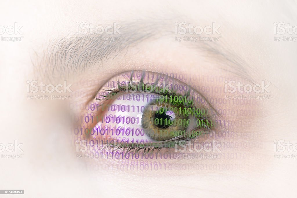 They're Watching, eye and computer screen royalty-free stock photo