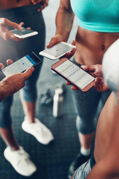de har alla fått en app att synkronisera sina träningspass scheman - calendar workout bildbanksfoton och bilder