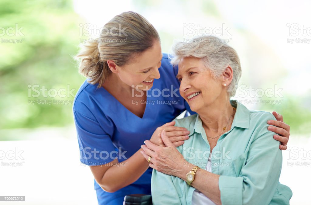 They've formed a friendship over the course of her care stock photo