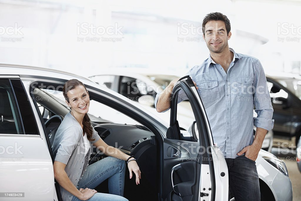 They've found their perfect car royalty-free stock photo