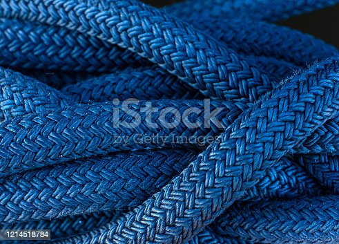 Blue thick nautical cord tied