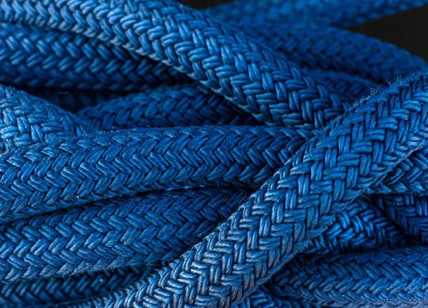 Thick blue nautical cord stock photo