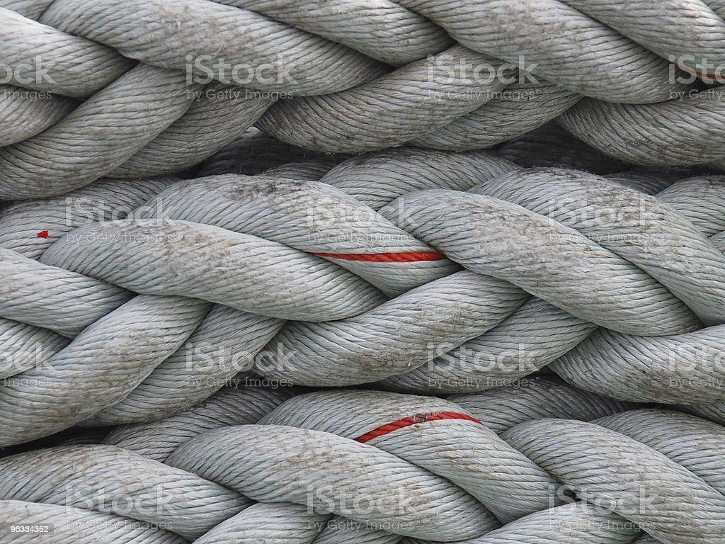 Thick coil of rope aboard ship royalty-free stock photo