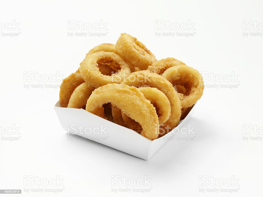 Thick Cut Onion Rings in a Take Out Box royalty-free stock photo