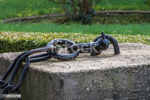 istock Thick massive anchor chain. 1138203768