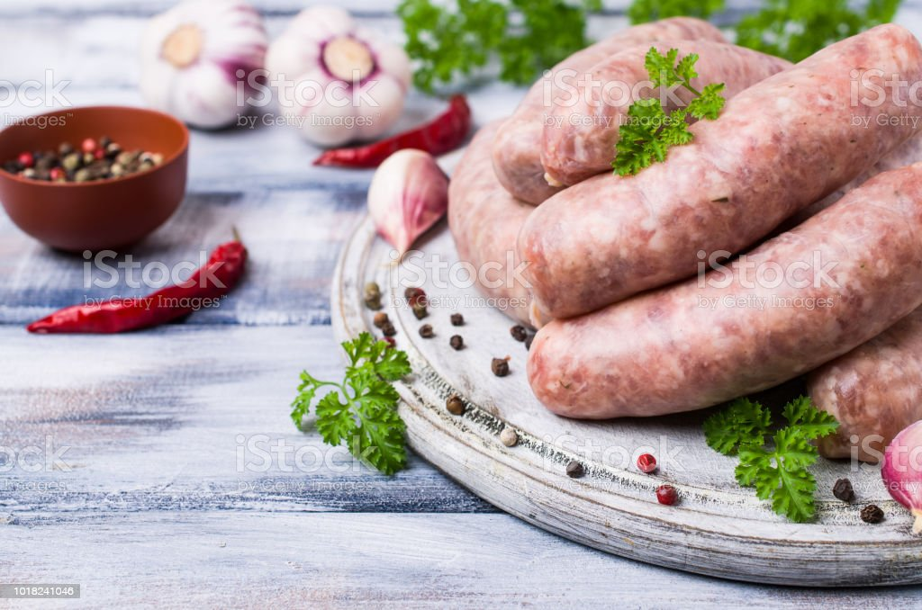 Thick meat sausages stock photo