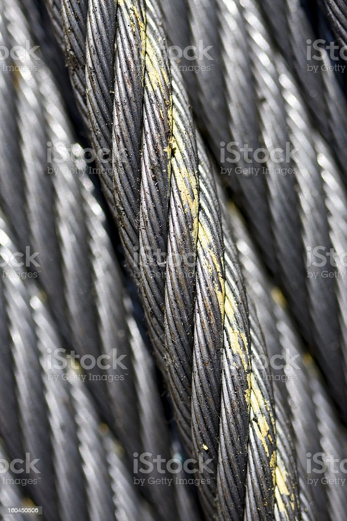 thick metal cable close-up stock photo