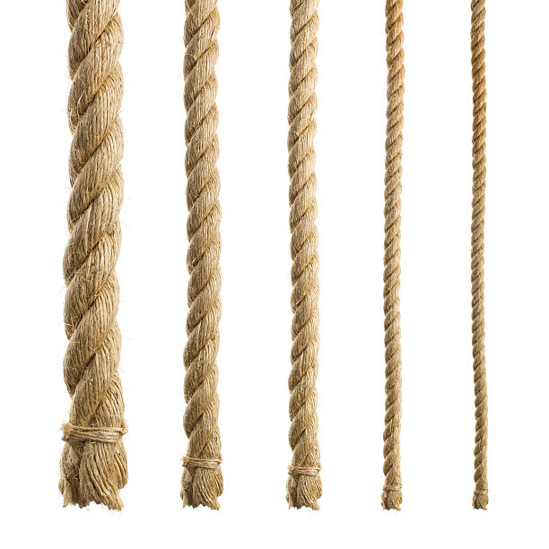 thick natural ropes isolated - sisal stock pictures, royalty-free photos & images