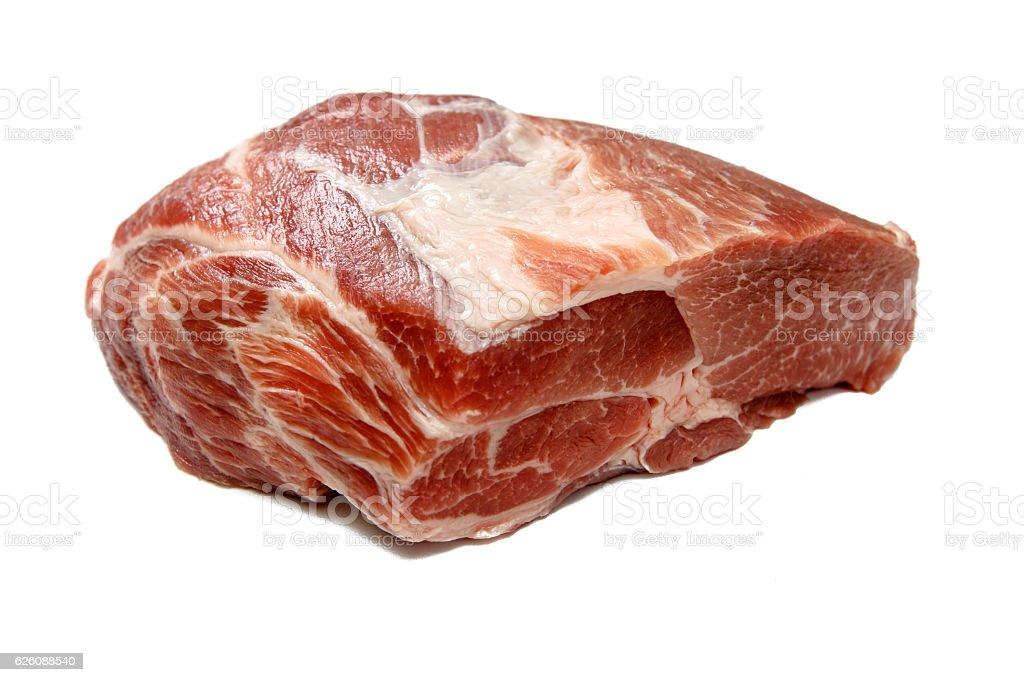 Thick neck of pork on white background. stock photo