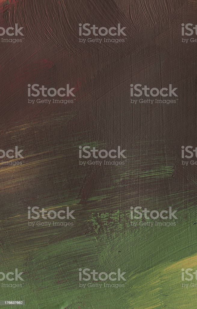 Thick Painting with Yellow Brown and Green royalty-free stock photo